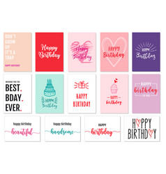 birthday cards set cards set vector image
