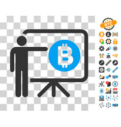 Bitcoin lecture board icon with bonus vector
