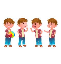 Boy kindergarten kid poses set little vector