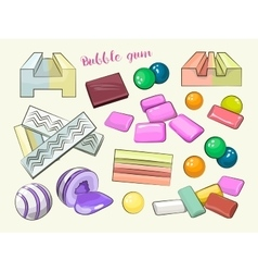 Bubble gum set vector image