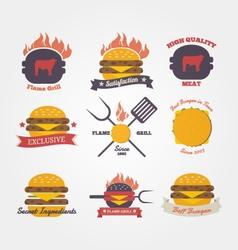 Burger restaurant flat design vintage label vector image