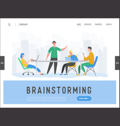 business meeting teamwork concept landing page vector image