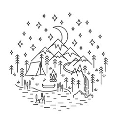 Camping nature scene vector