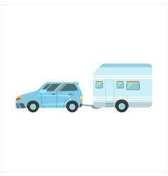 Car Pulling The Trailer Family Motorhome Flat vector