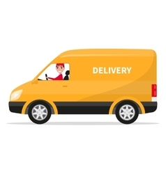 Cartoon delivery van truck with deliveryman vector