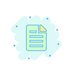 Cartoon document icon in comic style archive data vector