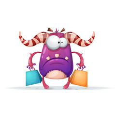 cartoon monster characters shopping vector image