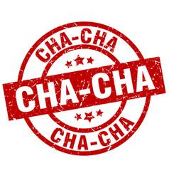 Cha-cha round red grunge stamp vector