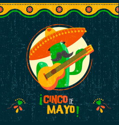 Cinco de mayo card of fun mexican mariachi cactus vector