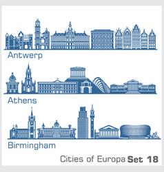 City in europe - antwerp athens birmingham vector