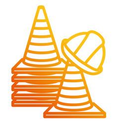 Construction helmet with cones vector