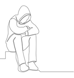 Continuous line drawing sad man alone concept vector