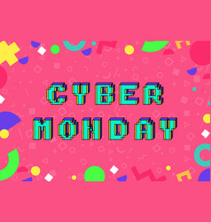 cyber monday pixel art style promotion banner vector image