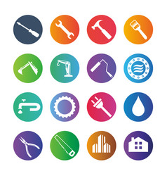 Design set full color construction icon vector