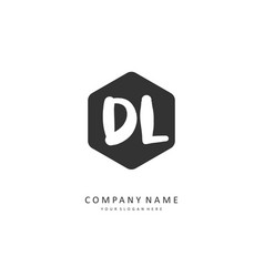 Dl initial letter handwriting and signature logo vector