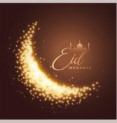Eid mubarak sparkling moon greeting background vector