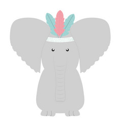 elephant with feathers hat bohemian style vector image
