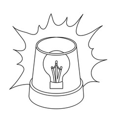 Emergency rotating beacon light icon in outline vector