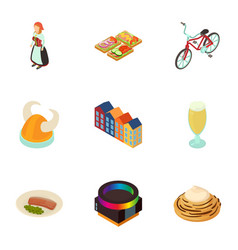 euro tradition icons set cartoon style vector image