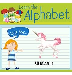 Flashcard alphabet U is for unicorn vector image