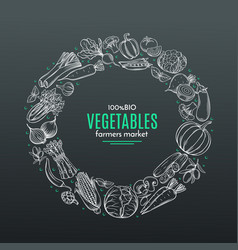 frame with hand drawn vegetables vector image