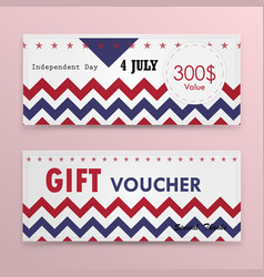 gift voucher american flag background or vector image