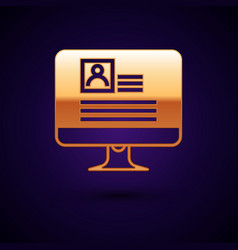 Gold computer monitor with resume icon isolated on vector