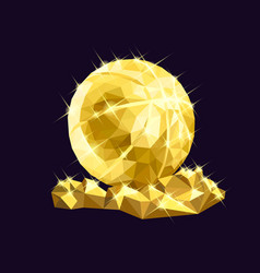 golden basketball low poly design vector image
