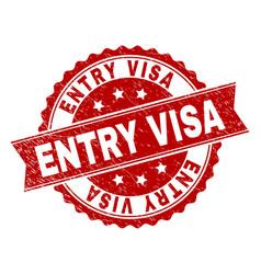 Grunge textured entry visa stamp seal vector