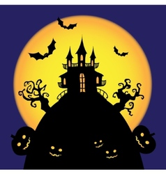 halloween castle card vector image