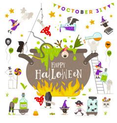 halloween group active characters around vector image