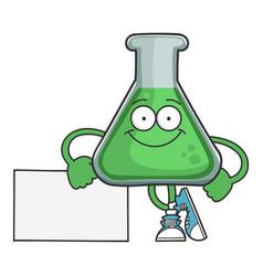 Happy smiling science beaker cartoon character vector