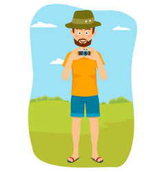 Happy tourist photographer man standing outdoors vector