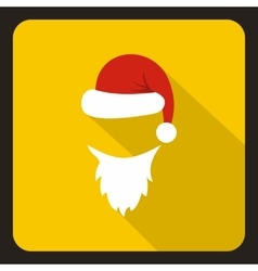 Hat and white beard of Santa Claus icon vector image
