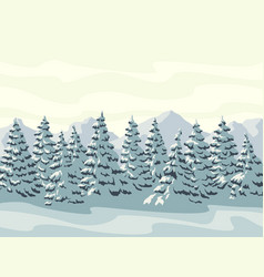 horizontal winter forest with mountains vector image