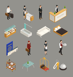 hotel service staff isometric icons vector image