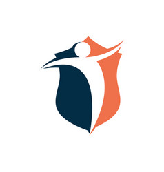 human shield security logo negative space design vector image