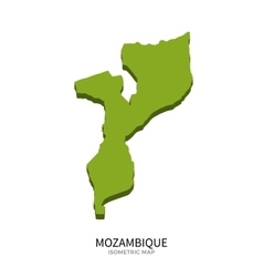 Isometric map of Mozambique detailed vector