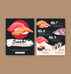 Japanese sushi collection for restaurant menu vector