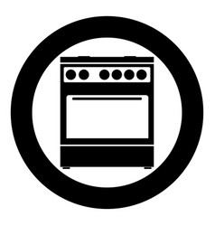 kitchen stove icon black color in circle vector image
