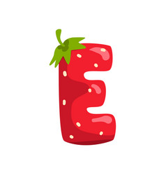 Letter e of english alphabet made from ripe fresh vector