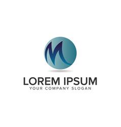 letter m globe logo design concept template fully vector image