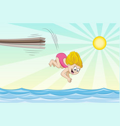 little girl is jumping from a jumpboard into the vector image