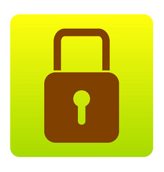 lock sign brown icon at vector image