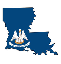 Louisiana state outline map and flag vector