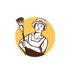 Maid Cleaner Duster Circle Retro vector