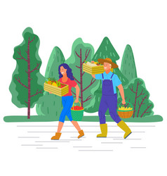 Man and woman working farming agriculture industry vector