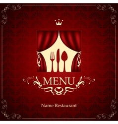 menu with the cutlery on the theater vector image vector image