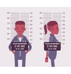 Mugshot of a young black woman vector