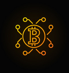 orange bitcoin and cryptocurrency outline vector image